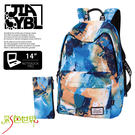 後背包包大容量14吋筆電包韓版帆布包防潑水書包彩色世界8302-BL
