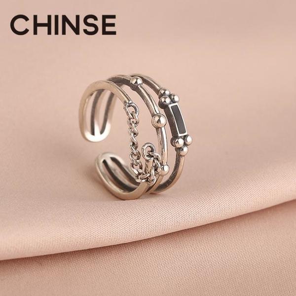 純銀戒指 S925純銀多層復古食指戒指女鏈條霸氣寬版開口冷淡風指環網紅銀飾【萬聖節限時】