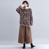 冬季新款歐洲站文藝復古大尺碼女裝寬鬆豹紋針織衫女上衣打底衫 入秋首選