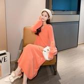 針織開衫女秋冬2019新款韓版過膝長款慵懶風套頭很仙的毛衣洋裝-ifashion