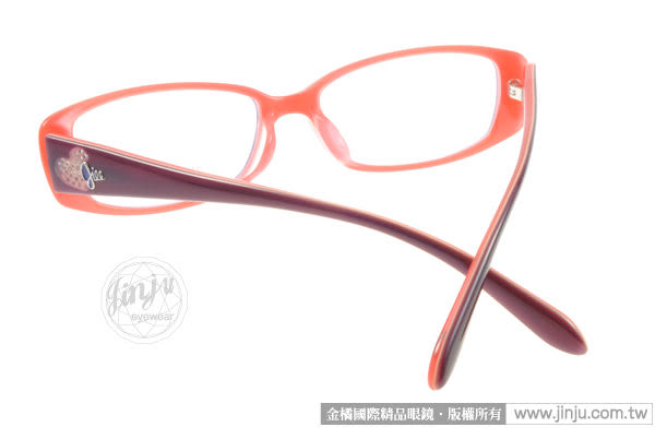 JILL STUART光學眼鏡 JS60004 C02 (橘粉) 清甜愛心水鑽 # 金橘眼鏡