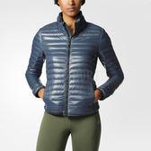 Adidas SL Down Jacket 女 灰藍色 羽絨夾克 極輕 可收納 600FP 愛迪達 時尚 立領 風衣 外套 AX8300