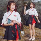 新品春夏改良漢服女寄明月同款套裝古風日常漢元素兩件套