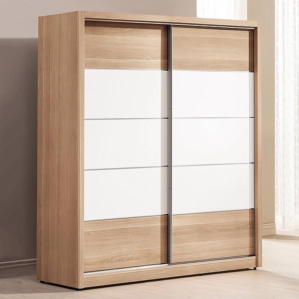 【森可家居】金詩涵5.2尺推門衣櫃 8ZX321-2 拉門 衣櫥 木紋質感 無印風 北歐風 衣物收納