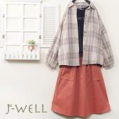 J-WELL 厚款落肩格紋襯衫長薄T口袋裙三件組(組合A524  9J1023卡+7J2110黑+9J1051粉)