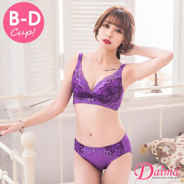 花吻迷情B~D燒花抓皺蕾絲無鋼圈胸罩(3套組) 【Daima黛瑪】