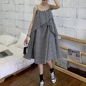 ★現貨★洋裝 細肩帶寬鬆格子長版洋裝(黑白格)小豬兒 Mini Jule  【YMB91008126】。現貨