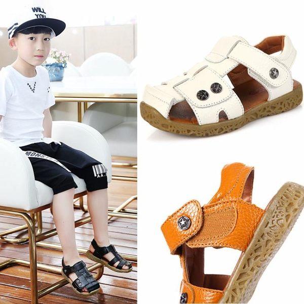 雙12鉅惠 兒童男童涼鞋真皮魔術貼軟底寶寶小童白色夏季沙灘鞋牛皮 東京衣櫃