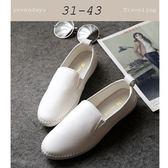大尺碼女鞋小尺碼女鞋圓頭真皮小白鞋素面麻編漁夫鞋懶人鞋樂福鞋平底鞋包鞋休閒鞋白色(30-43)