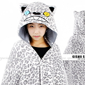 【DQ131】『豹紋』加厚珊瑚絨披肩.袖毯 懶人斗篷睡袍 EZGO商城