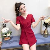 連身褲 小個子連身衣女夏季新款洋氣氣質v領薄款連身褲短褲裙職業套裝 韓國時尚週