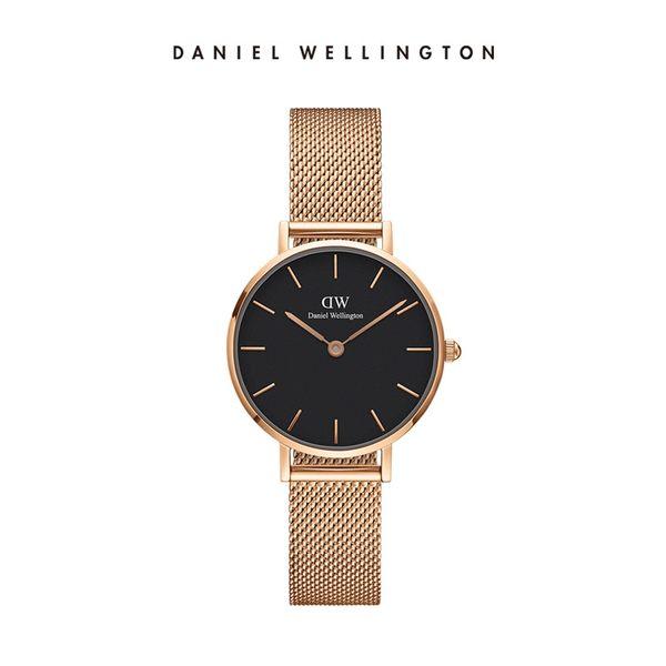 Daniel Wellington DW 手錶 28mm玫瑰金框 Classic Petite 香檳金米蘭金屬編織