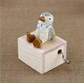 可愛小動物手搖音樂盒木質迷你八音盒