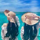帽子女太陽帽出游沙灘防曬遮陽草帽海邊度假...