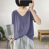 短袖t恤女紫色寬鬆V領年夏季新款韓版亞麻白色大碼上衣ins潮