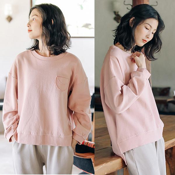 T恤-純棉溫柔粉色素色衛衣寬鬆文藝上衣/設計家 S9827