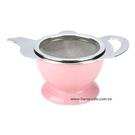 金時代書香咖啡 CafeDe Tiamo 茶壺造型不鏽鋼杓形濾網組 (附陶瓷底座) HG2818P
