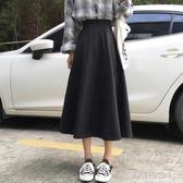 2019秋冬女裝新款復古港味毛呢中長裙高腰a字半身裙黑色傘裙-ifashion