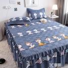 加厚夾棉床裙單件卡通防塵防滑固定裙式1.5m席夢思床罩床墊保護套 3C優購