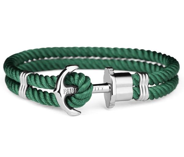 【台南 時代鐘錶 PAUL HEWITT】德國 PHREP 船錨手環 墨綠色呢絨 銀扣 PH-PH-N-S-G