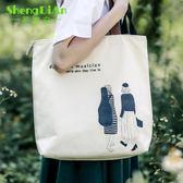 小清新休閒帆布包女包韓版文藝單肩包時尚購物袋印花手提袋潮