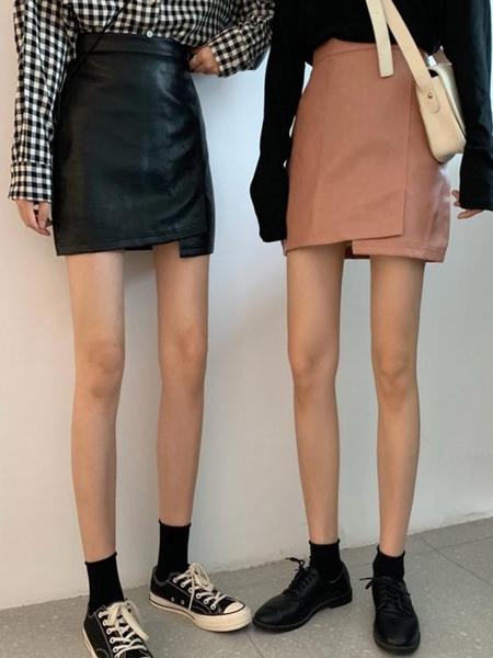 不規則PU小皮裙女顯瘦高腰半身裙韓版百搭A字包臀短裙秋新款