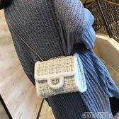 斜背包潮ins超火包包女2018新款小方包時尚毛呢百搭鍊條側背女包 品生活旗艦店