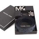Michael Kors MK雙釦頭雙面用皮帶禮盒組(深藍色)618151