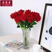 干花花束鮮花 仿真玫瑰花套裝假花玫瑰花客廳餐桌擺件花藝插花擺設裝飾 【8折下殺免運】