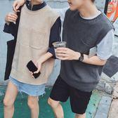 日系港風秋冬學生韓國馬甲毛線針織背心情侶毛衫線衣打底毛衣男女『摩登大道』