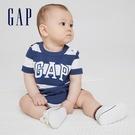 Gap嬰兒 Logo純棉短袖連身衣 685041-藍色條紋