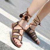 波西米亞涼鞋女夏平底網紅女鞋子百搭韓版沙灘羅馬鞋綁帶 盯目家