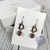 BRAND楓月 CHRISTIAN DIOR 迪奧 LOGO 紫色 愛心水鑽 耳環 飾品 配件