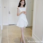 禮服小禮服女士新款名媛氣質流行收腰顯瘦a字裙白色洋裝子夏 快速出貨