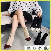 中筒靴-短靴子高跟鞋瘦瘦彈力襪細跟馬丁靴短筒