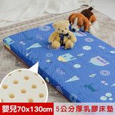 【米夢家居】夢想家園-冬夏兩用天然乳膠嬰兒床墊-深夢藍(70X130)