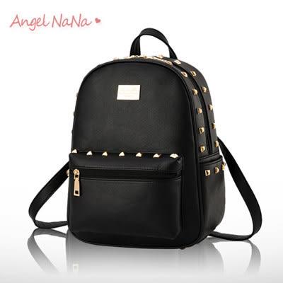 後背包。AngelNaNa 歐美風 休閒 金屬鉚釘  女雙肩包(SBA0165)