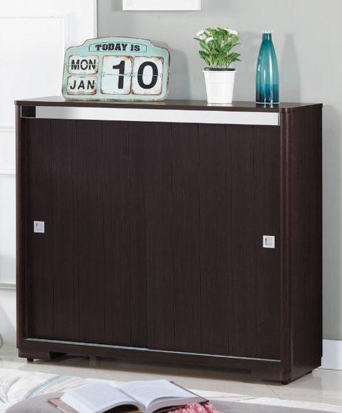 【森可家居】拉特4尺胡桃推門鞋櫃(木心板) 7JX276-5 木紋質感
