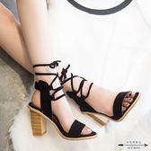 粗跟涼鞋 高跟綁帶女涼鞋露趾粗跟時尚魚嘴女鞋 - 古梵希鞋包