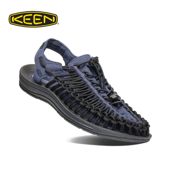 【KEEN 美國 男 編繩涼鞋 《灰藍/黑》】1020787/防滑/專業戶外護趾編織涼鞋/健走/沙灘鞋/拉繩鞋