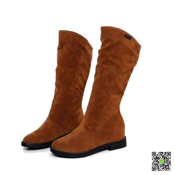 秋冬新款內增高平底女靴子加絨長靴圓頭百搭休閒靴馬丁靴女鞋 一件免運