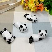 創意陶瓷餐廳擺件紅臉小熊貓筷子架酒店家用動物筷枕筷托熊貓筆架