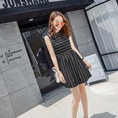 ★韓美姬★中大尺碼~甜美條紋無袖洋裝(XL~5XL)