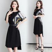 短袖洋裝淑女長裙輕熟風夏裝撞色設計清晰氣質收腰顯瘦時尚連身裙HF303依佳衣