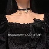 項圈 復古宮廷風少女愛心鎖骨鏈choker雙層桃心珍珠暗黑絲絨項圈頸帶仙 小衣里
