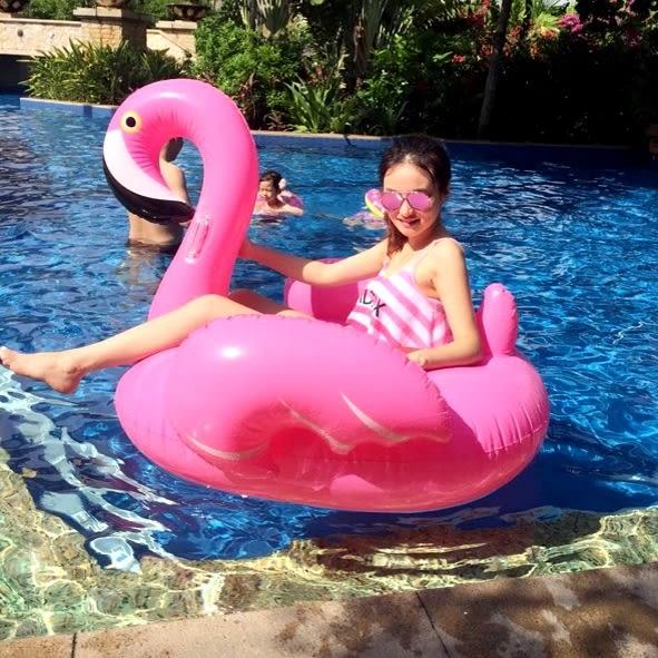 游泳圈火烈鳥 海灘沙灘派對小火烈鳥游泳圈水上充氣床游泳池【Ann梨花安】