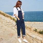 牛仔背帶褲女2018新款ulzzang學生韓版可愛bf寬鬆原宿直筒九分褲
