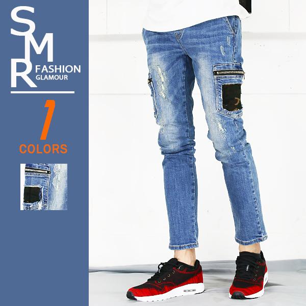 牛仔褲-韓工作迷彩袋牛仔褲-街頭潮流特色款《004HB002》藍色【現貨+預購】『RFD』