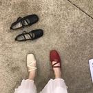 豆豆鞋女鞋2020年新款夏季交叉鬆緊方頭平底單鞋百搭軟底瓢鞋秋鞋 衣櫥秘密