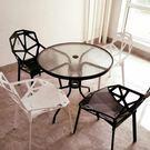 鋼化玻璃圓桌洽談桌椅組合戶外小桌子現代簡約鐵藝餐桌休閒咖啡桌 LX 潮人女鞋